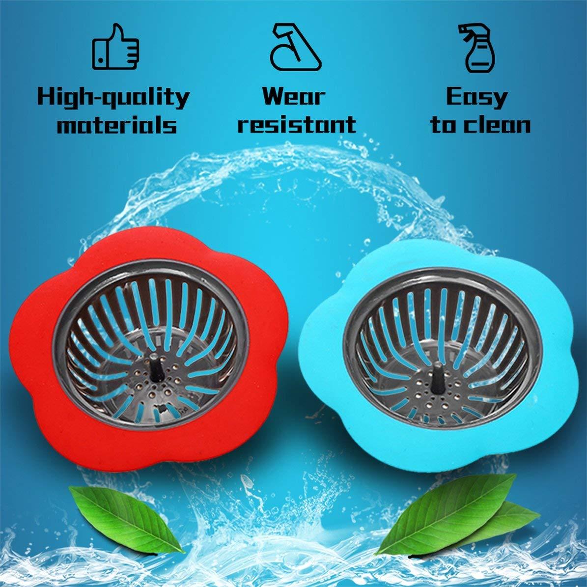 desag/üe Rojo, Azul Sunnyflowk Accesorios de Cocina Fregadero de Ducha colador Filtro de alcantarilla colador Colador de Cocina de Silicona con Forma de Flor Creativa