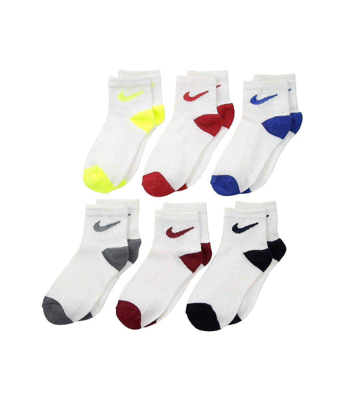 Nike Boys Ankle Athletic Socks White//Multi 5//7 10C-3Y 6-Pack