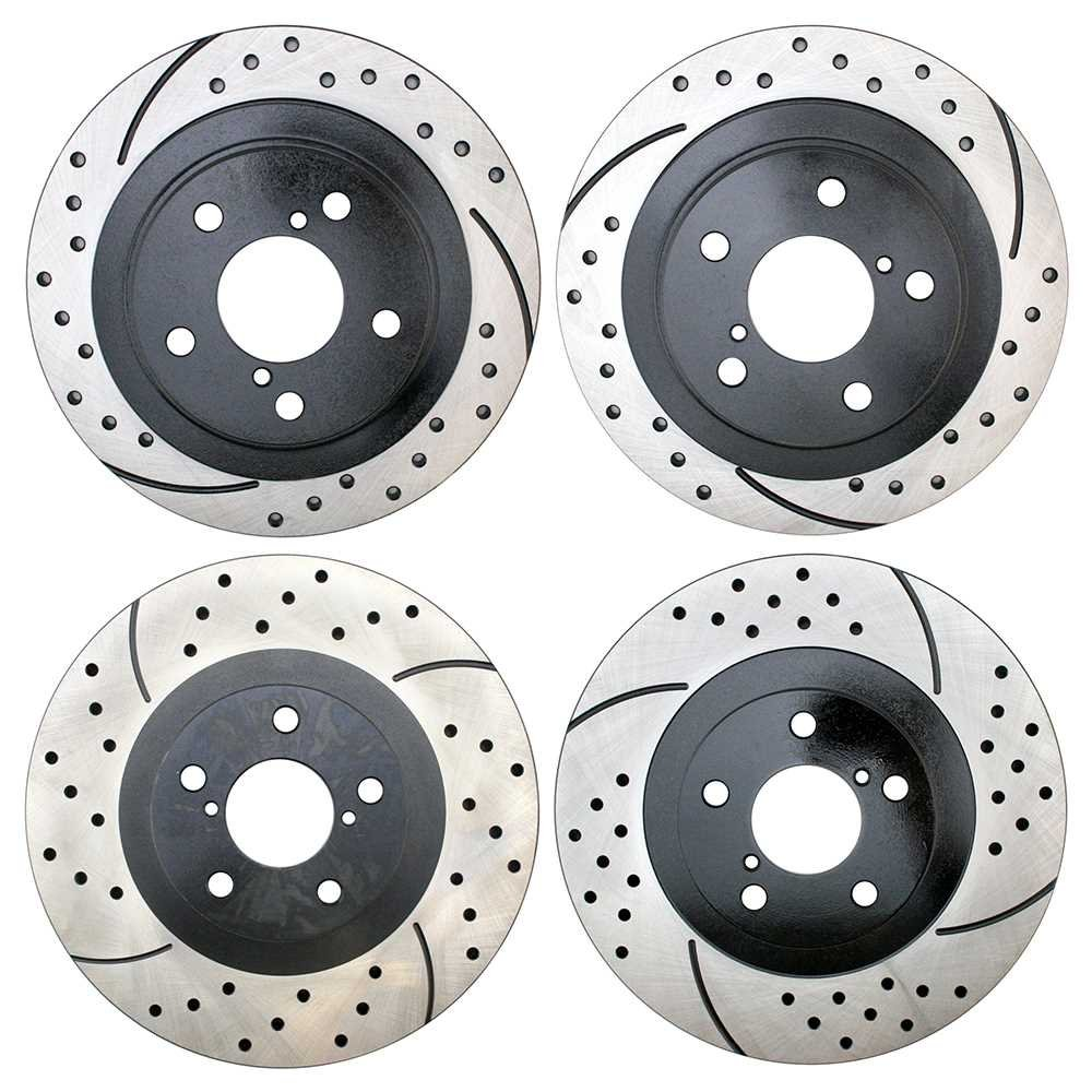 Prime Choice Auto Parts PR44205-41045PR Set of 4 Performance Drilled and Slotted Brake Rotors