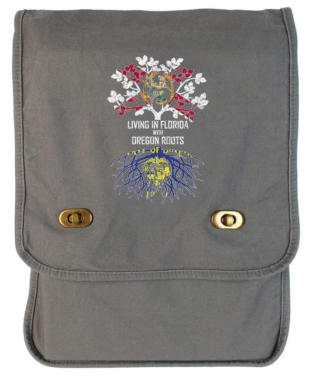 Tenacitee Living In Florida with Oregon Roots Grey Brushed Canvas Messenger Bag