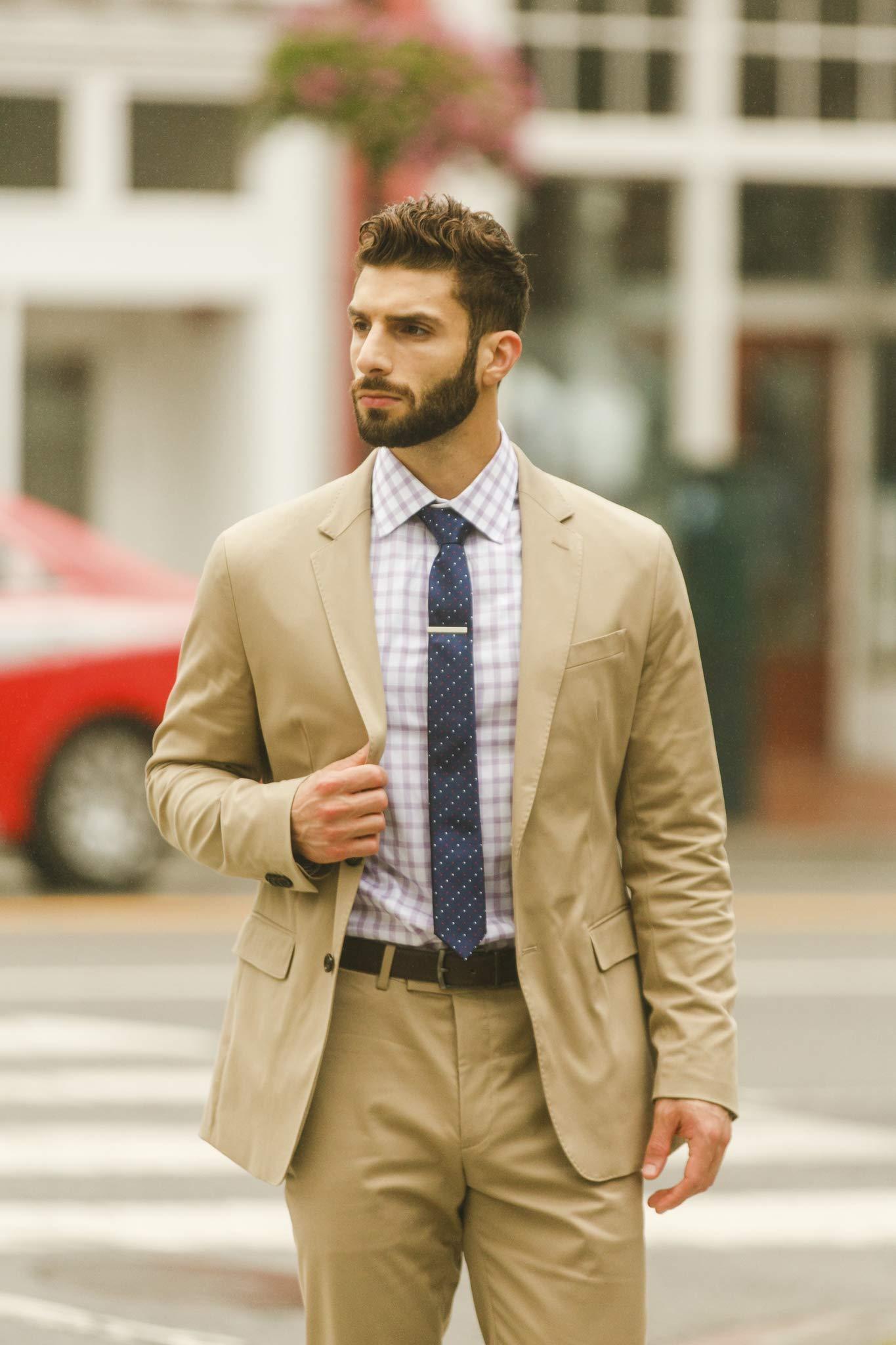 Cueva Bar 4.13 cm Tie Clip, Suiting Tie Clip, Great Gift for Men, Classic Style, Office Look, Wedding Business Necktie Clip, Silver Steel, Unique Design, Everyday Wear, Fashion Necktie Clip by Cueva (Image #8)
