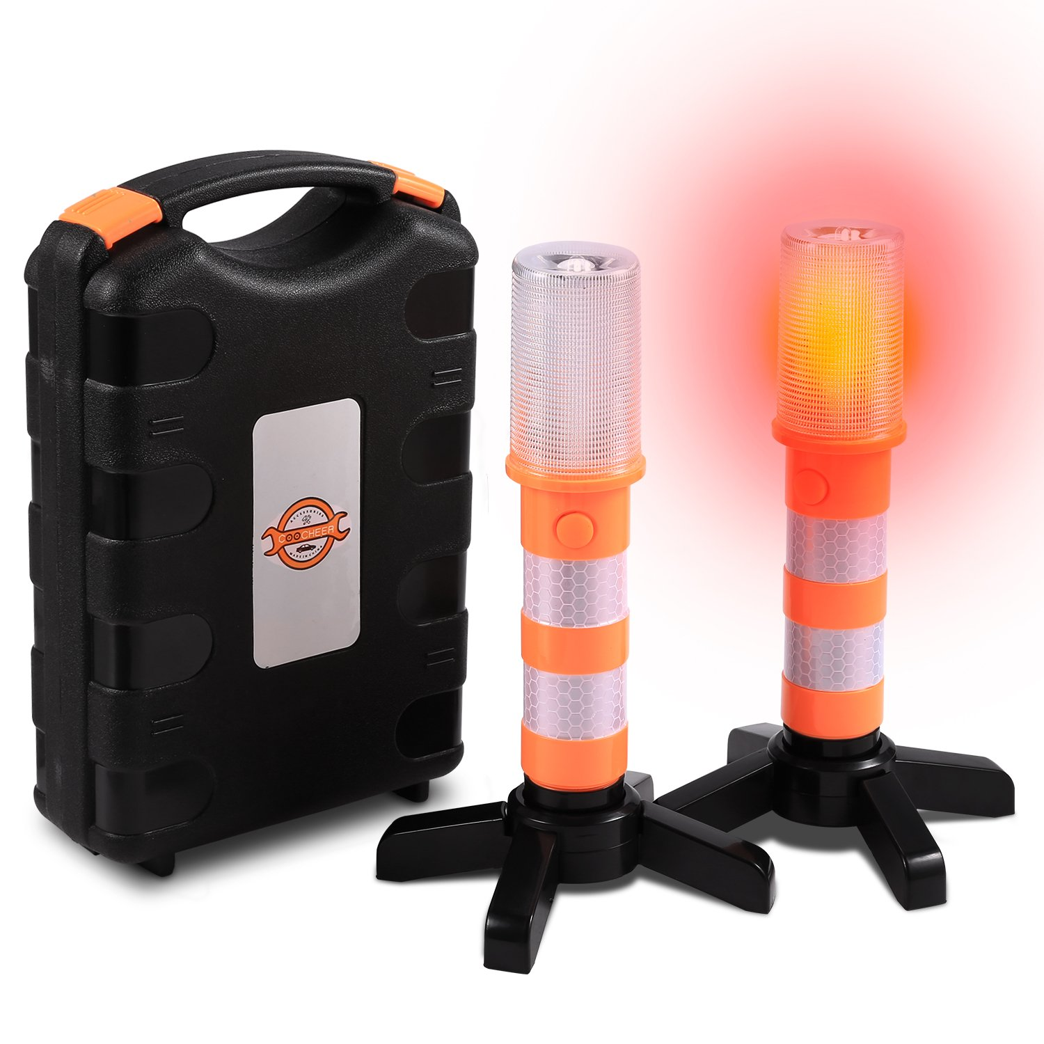 Sailnovo 2 LED Emergency Roadside Flares- Red Road Beacon Safety Strobe Light Warning Signal with Magnetic Base and Upright Stand, Storage Case for Car Marine Vehicles Trucks