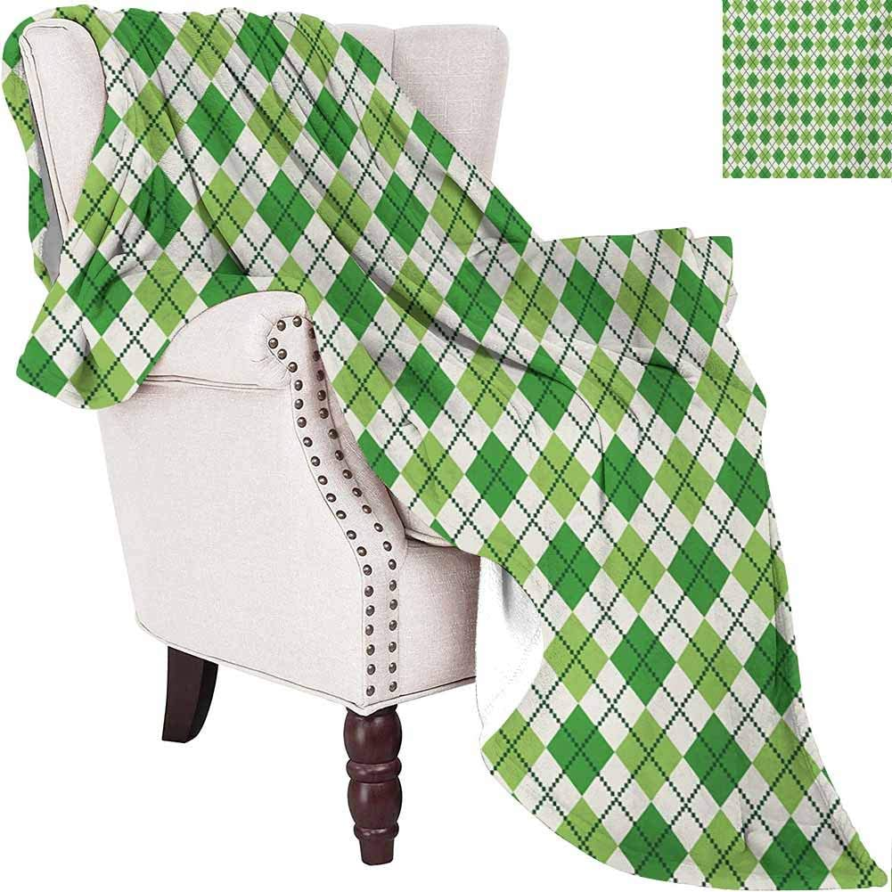 MKOK Irish Bedding Microfiber Blanket Classical Argyle Diamond Line Pattern with Crosswise Lines Old Fashioned Super Soft and Comfortable Luxury Bed Blanket W80 x L60 Inch Green Pale Green White