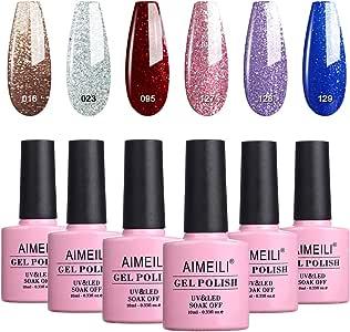AIMEILI Soak Off UV LED Gel Nail Polish Multicolour/Mix Colour/Combo Colour Set Of 6pcs X 10ml - Kit Set 29