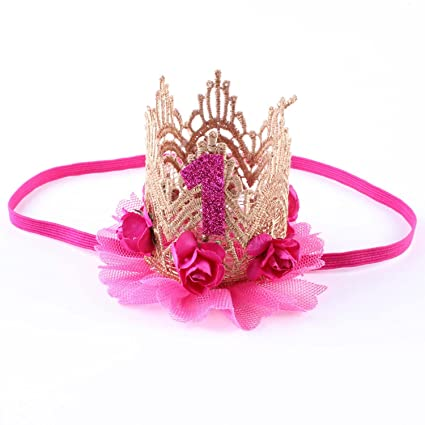 Image Unavailable. Image not available for. Color  Baby Girl 1 Year Old  Crowns Flower ... 2b7df8425e0