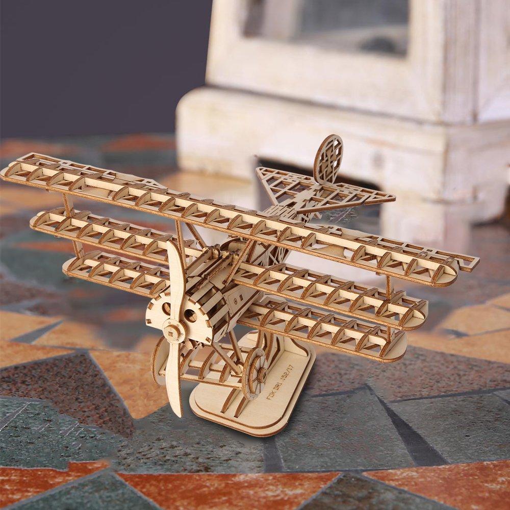 Rolife Woodcraft Baukasten 3D Holz Puzzle Kits DIY Spielzeug Geschenk f/ür Kinder Jugendliche und Erwachsene Airplane