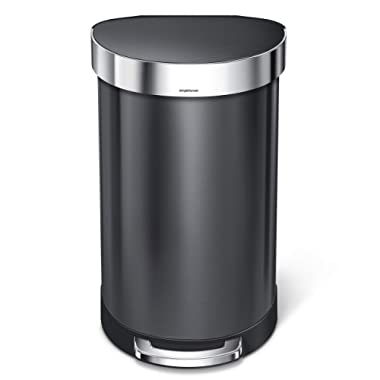 simplehuman 45 Liter / 12 Gallon Semi-Round Step Liner Rim, Black Stainless Steel Kitchen Trash Can 45 L (12 Gal),