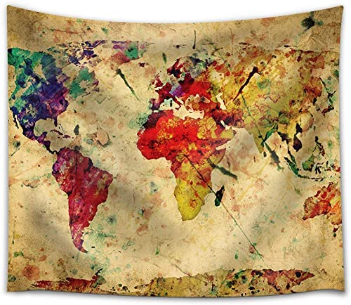 wall26 A Map of The World in Water Colors on a Vintage Background – Fabric Tapestry, Home Decor – 68×80 inches