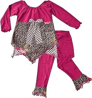 product image for Cheeky Banana Little Girls Handkerchief Top & Leggings Magenta Animal Print
