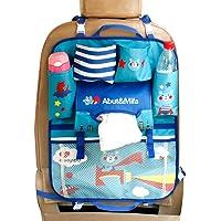 Car Backseat Organizer Kick Mats - Auto Seat Back Protector Kids Toy Storage Bear