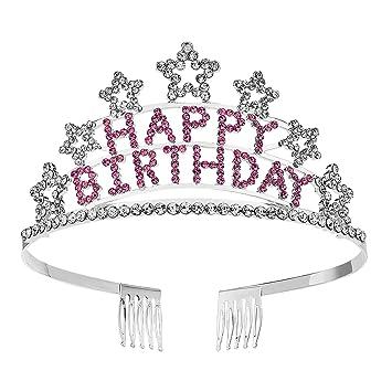 Amazon.com: SWEETV - Tiara de cristal para cumpleaños ...