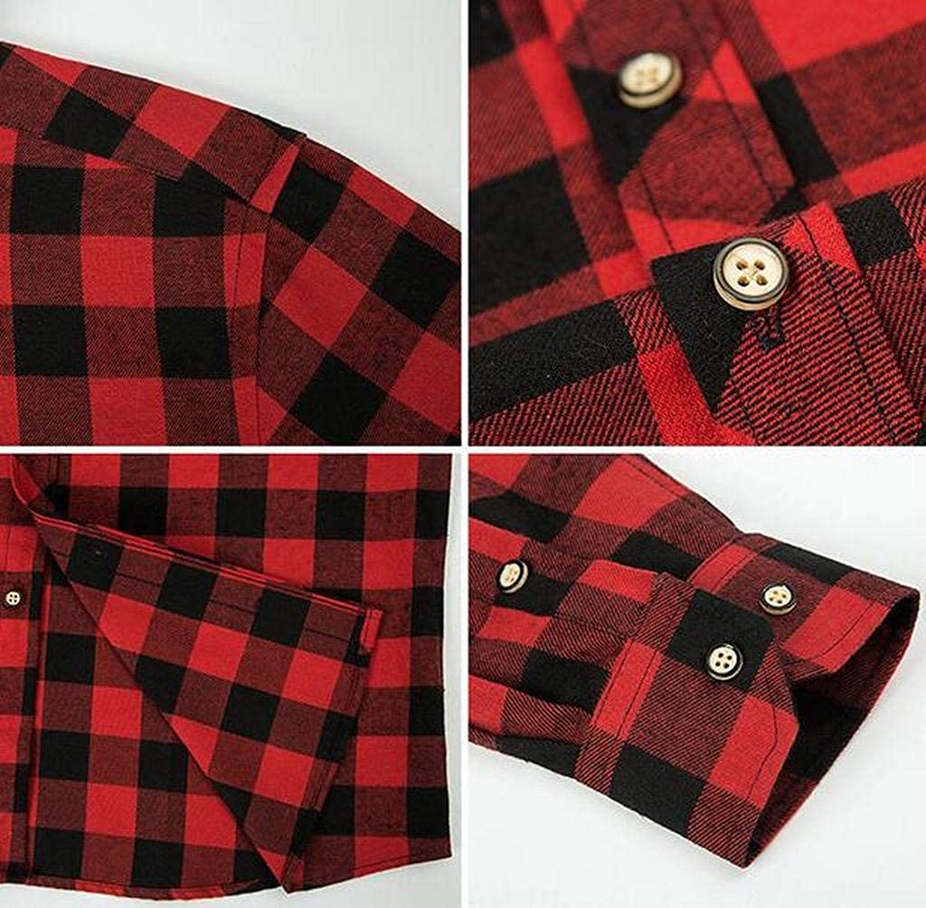 Jofemuho Mens Plaid Button Up Long Sleeve Casual Business Dress Flannel Checkered Shirt