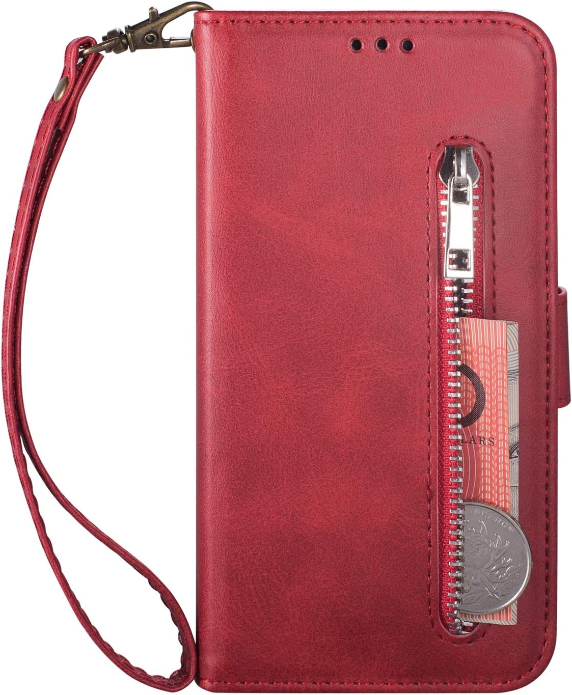 Moiky Soft PU Leather Wallet Case for Samsung Galaxy Note 9,Red Folio Flip Stand Case for Samsung Galaxy Note 9,Multifunctional Zipper Purse Cover Handbag Case with Card Holder and Wrist Strap