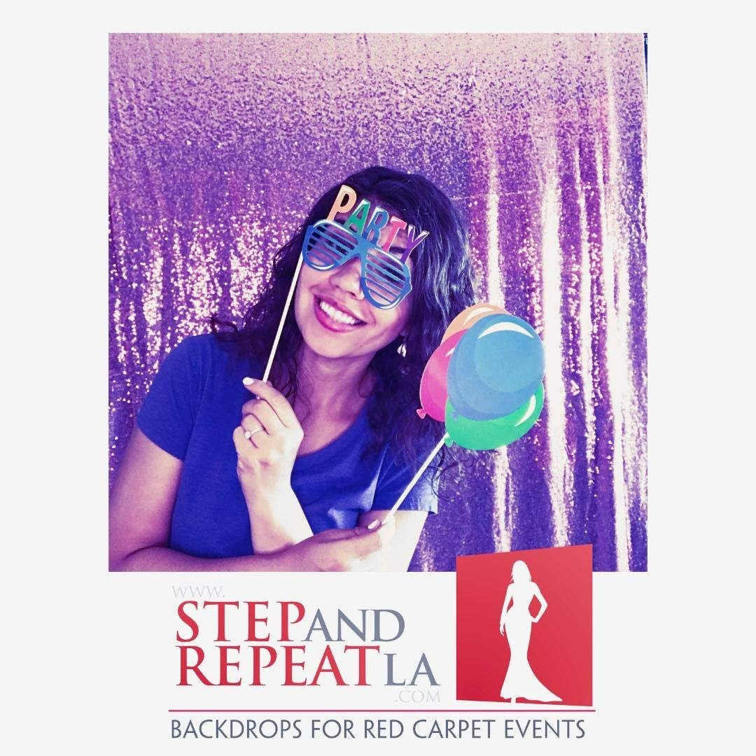 Step and Repeat LA Birthday Photo Booth Props Party Pack, Also included is a 20% Off Coupon for a Custom Backdrop