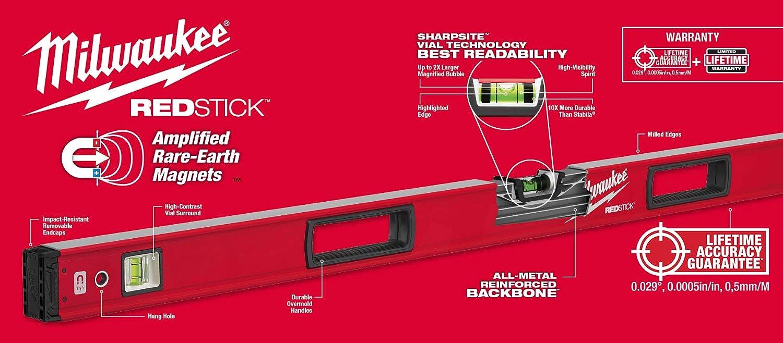 Milwaukee MLBXJBM 78//32 pouces aluminium redstick Magnétique Boite Faisceau Niveau jambage Set