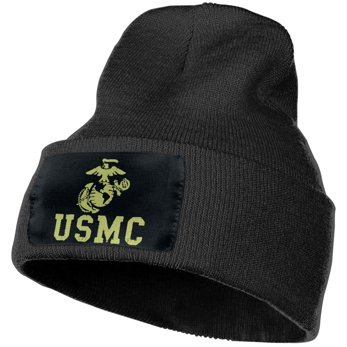 JimHappy USMC Winter Warm Hats,Knit Slouchy Thick Skull Cap Black