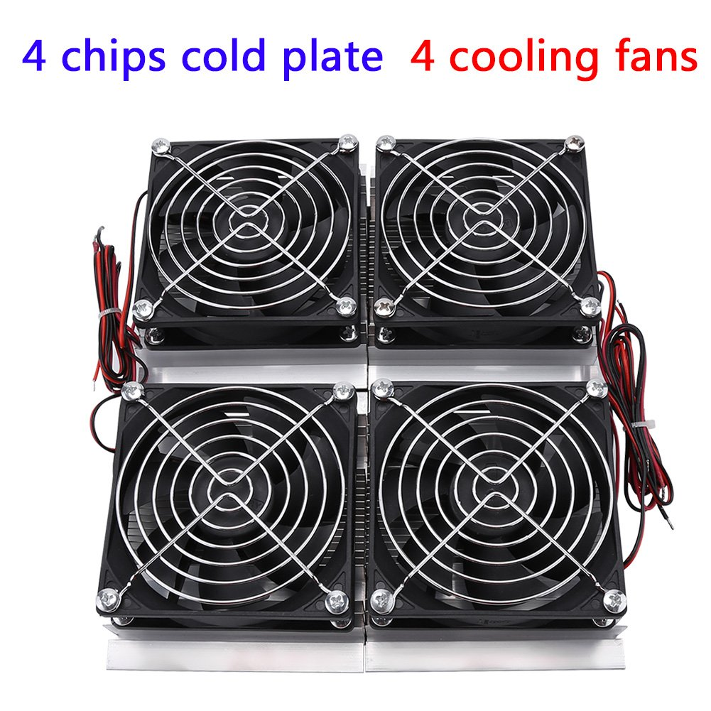 240W 4-chip Semiconductor Refrigeration Thermoelectric Cooler Peltier Cooling Plate with 4 Fans