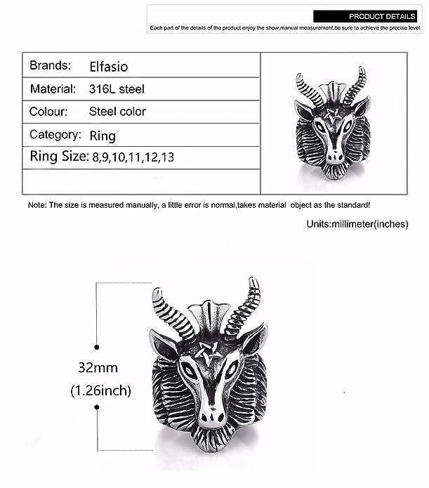 Mens Stainless Steel Baphomet Ring Pentagram Goats Head Horns Occult