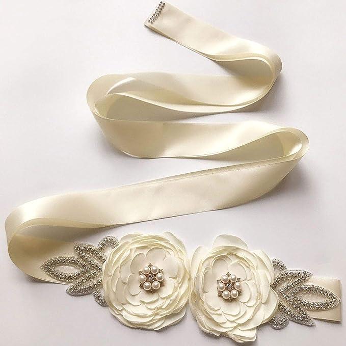 Champagne Amosfun Wedding Dress Long Thick Belt Rhinestone Elegant Crystal Wedding Dress Sashes and Belts