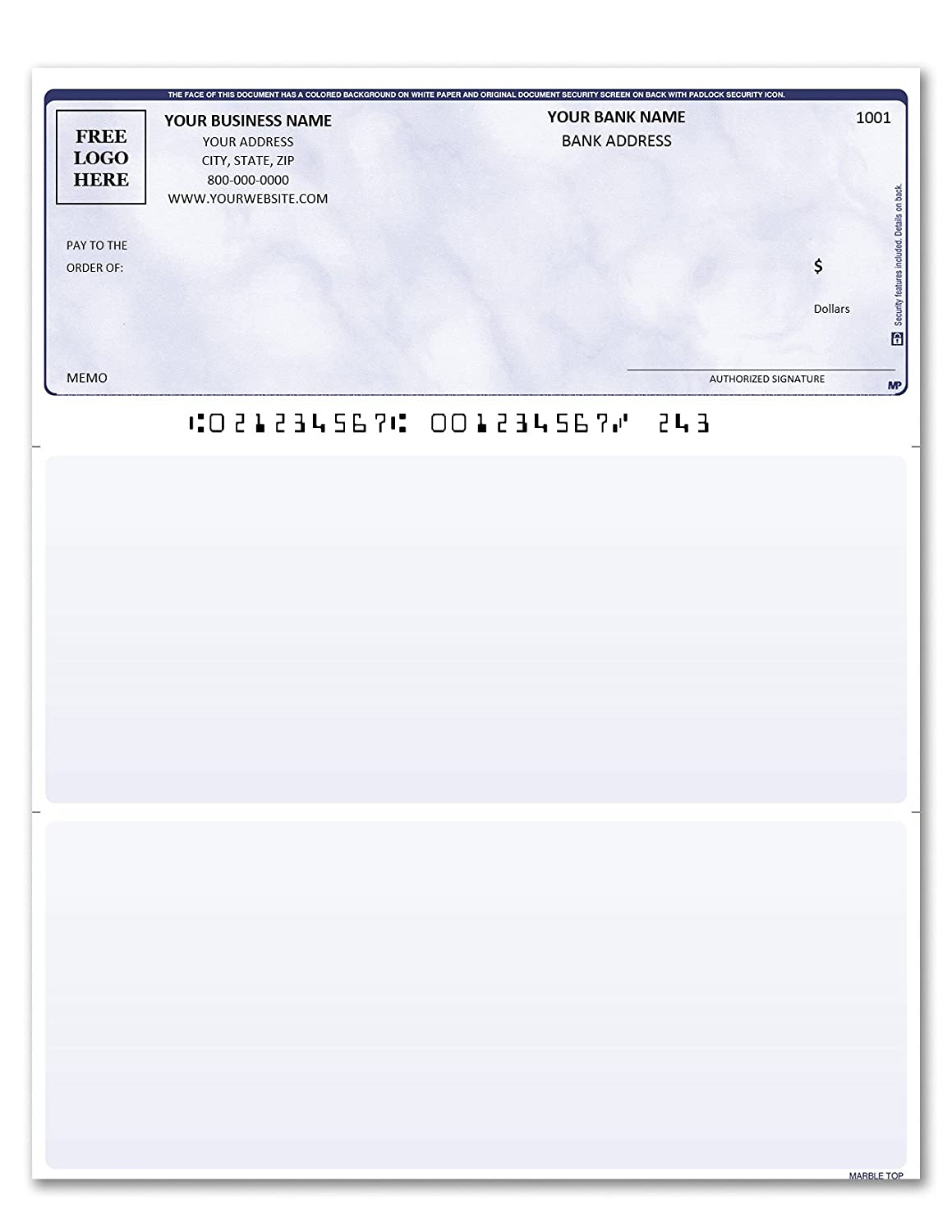 1000 Marble Purple Custom Printed Laser Computer Checks Compatible with Quickbooks//Quicken Check on Top