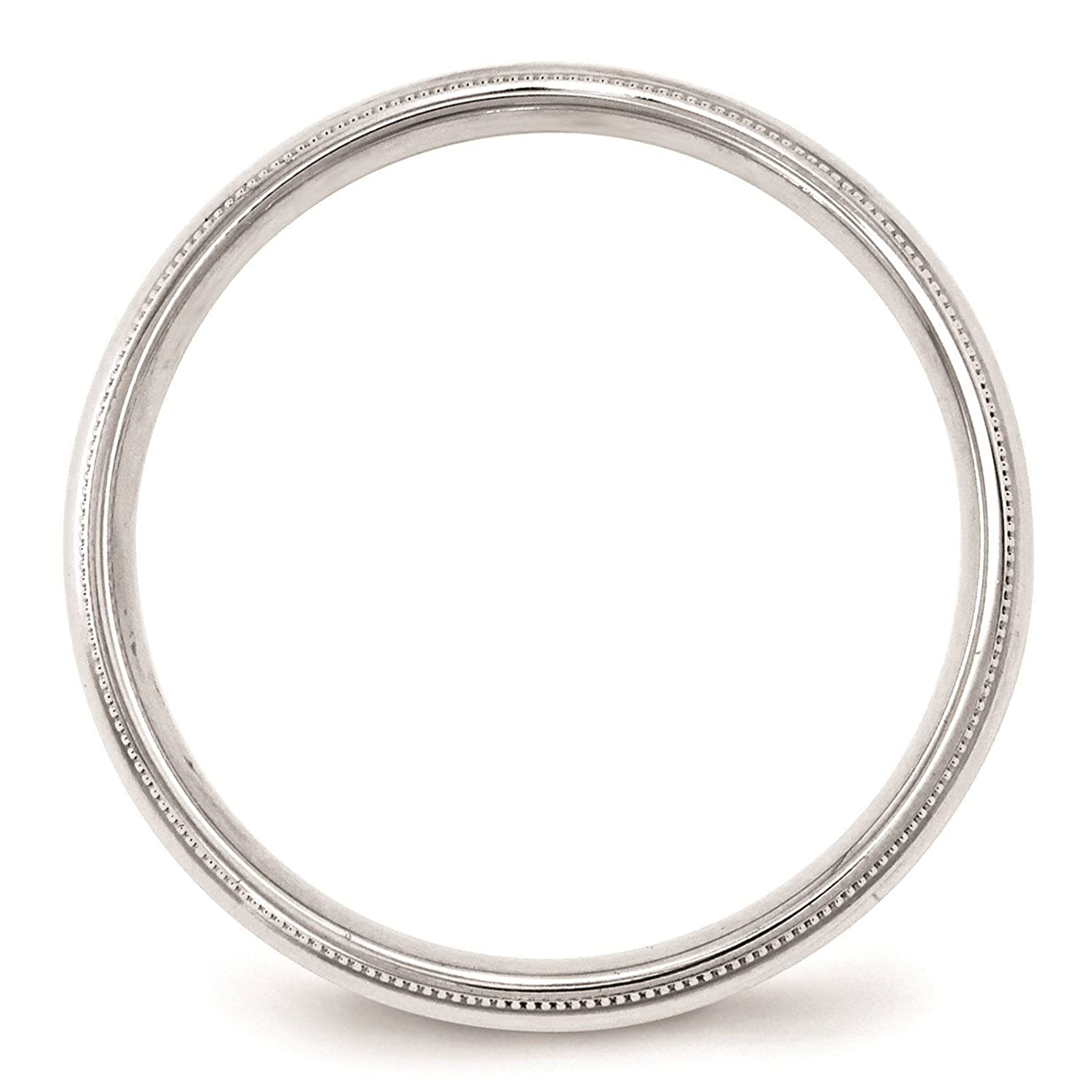 10k White Gold 4mm Milgrain Comfort Fit Wedding Ring Band Size 4-14 Full /& Half Sizes