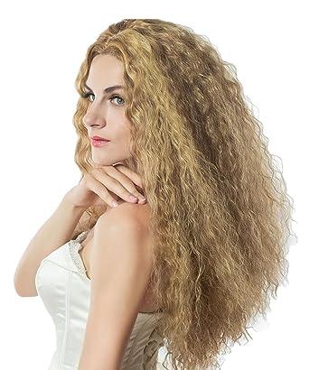 L-Peach Peluca Afro Pelo Rizado Natural Cabello para Mujer o Hombre Disfraz para Cosplay