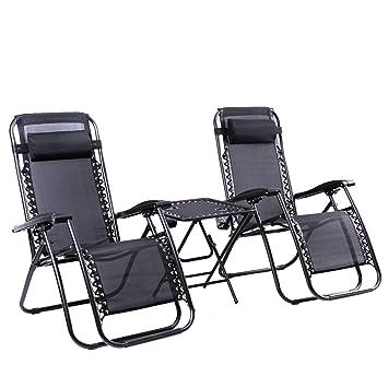 0c8261c51e23 Leisure Zone 2 x Textoline Reclining Garden Chair Zero Gravity Chairs with  Table Beach Sun Lounger