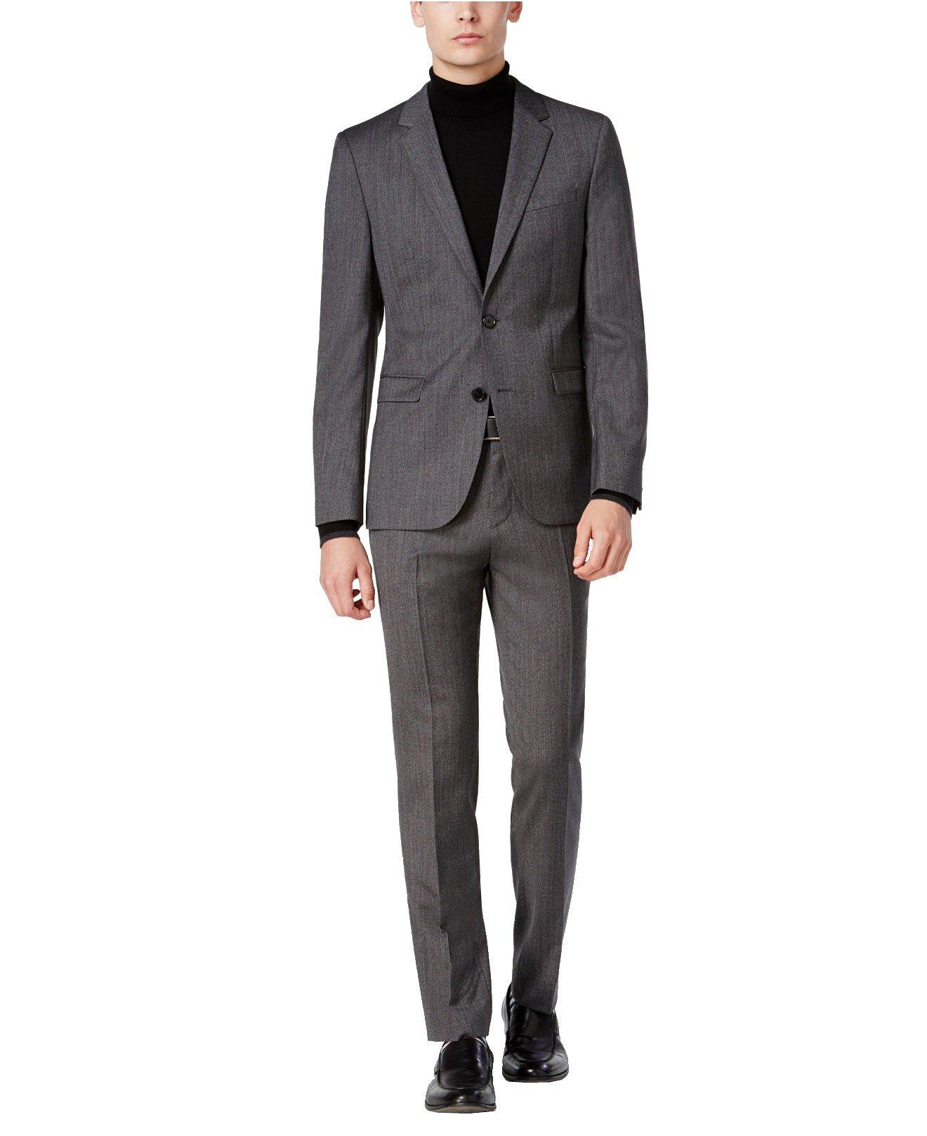 Hugo Boss Astian/Hets Extra Slim Fit 2 Piece Men's 100% Virgin Wool Suit Melange Herringbone 50320624 033 by HUGO (46 Regular USA Jacket / 40 Waist Pants)