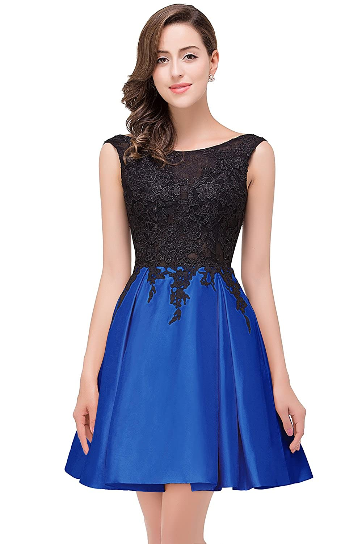 Babyonlinedress Vestido corto de novia vestido azul de satén con aplicaciones estilo elegante y A line cuello redondo sin mangas espalda V talla 46: ...