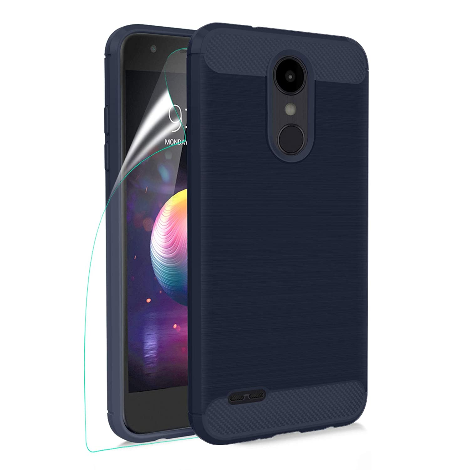 LG K30 Case,LG K10 2018/Premier Pro LTE/CV3 Prime/Xpression Plus/Harmony 2/Phoenix Plus Phone Case with HD Screen Protector, Carbon Fiber Soft TPU Brushed Texture Shockproof Protective Cover, Navy