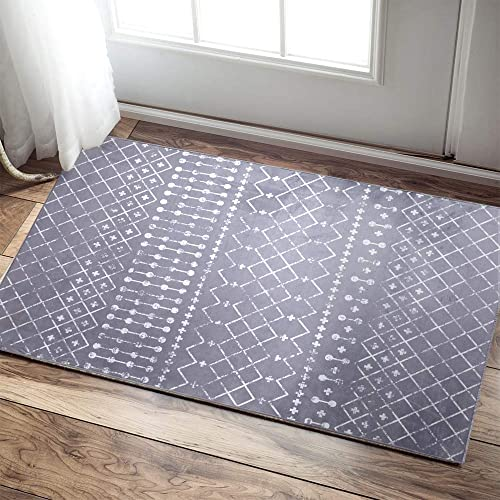 Diamond Area Rug Doormat Runner Rug Moroccan Tile Floorcover Indoor Outdoor Mat Grey 2'x 3'3″