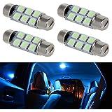 Partsam 44mm Festoon LED Light Bulbs LED Car Interior Lights Map Dome Reading Lights Bulbs 211-2 578 569 Festoon LED Bulb 6-SMD 12V for Chevrolet Dodge Ford GMC etc-Ice Blue (Pack of 4)