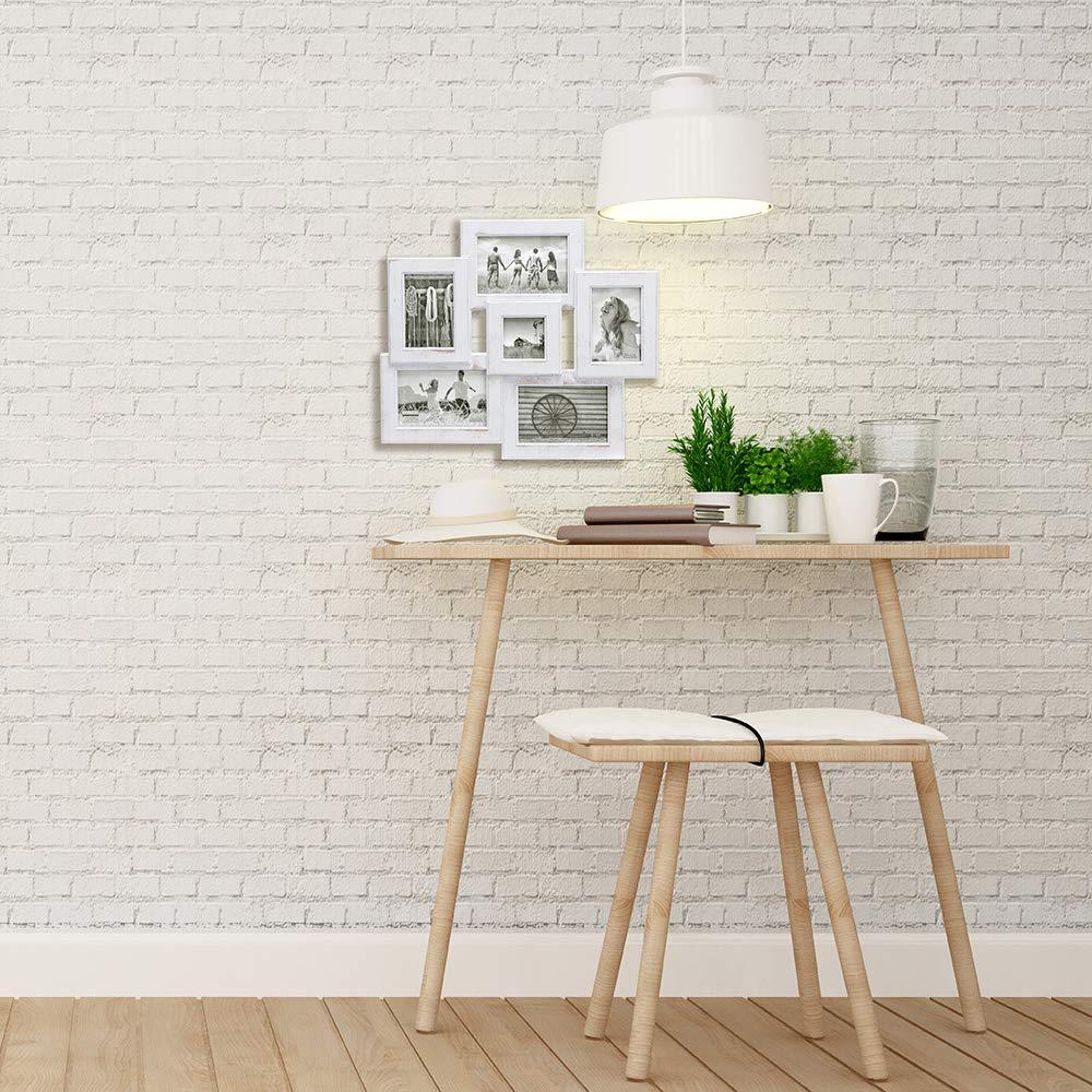 White 6 Option Malden International Designs Berkshire Beveled Wall Collage Picture Frame 3-4x6 /& 2-3x5 /& 1-3x3