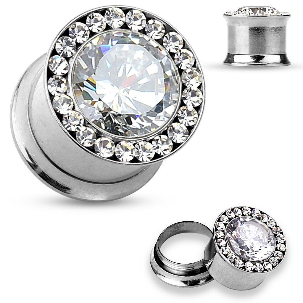 Large CZ Centered and CZ Set Around Rim 316L Surgical Steel Double Flared WildKlass Screw Fit Tunnels (Sold as a Pair)