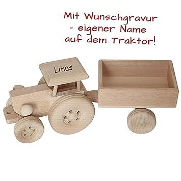 Trecker Holzspielzeug Traktor Holz Holztrecker Anhänger Fahrzeug Tiere Auto neu Holzspielzeug Fahrzeuge
