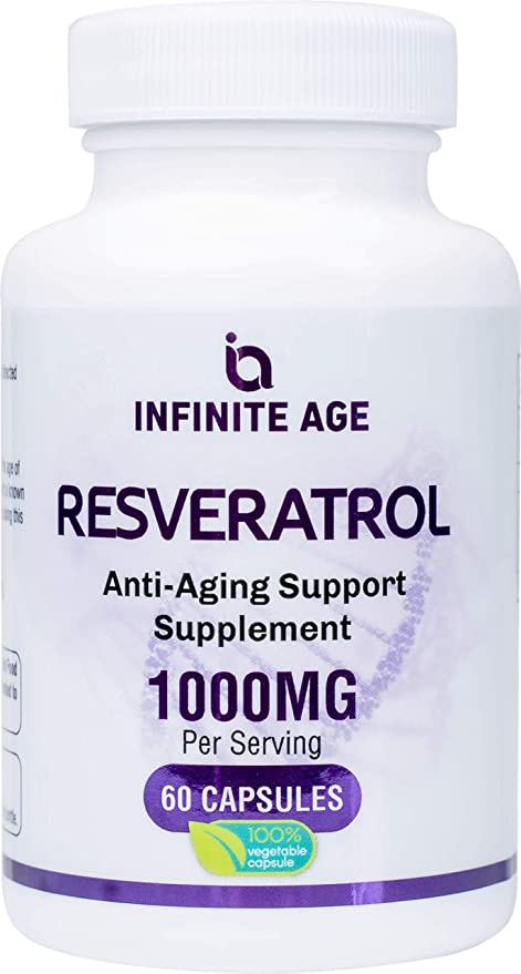 Infinite Age: Resveratrol - Pure Trans-Resveratrol Antioxidant Supplement with Anti Aging, Cardiovascular and Immune Support - Helps Fight Inflammation - 60 Capsules - 1000mg - Purity Transparency