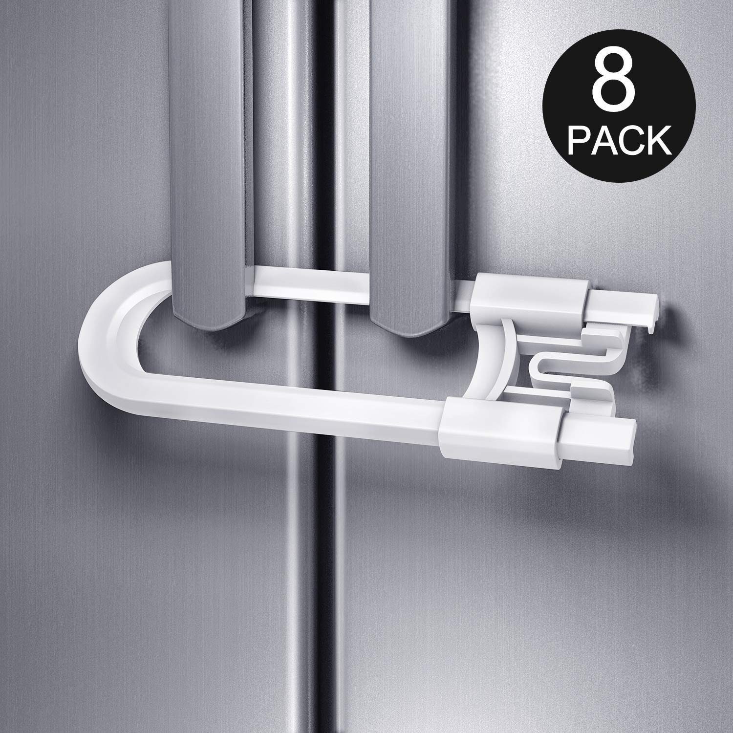 Baby Proofing Cabinet Safety Locks, 4 Pack Child Proof U-Shaped Sliding Cabinet Locks Latches for Knobs and Handles Cynkie