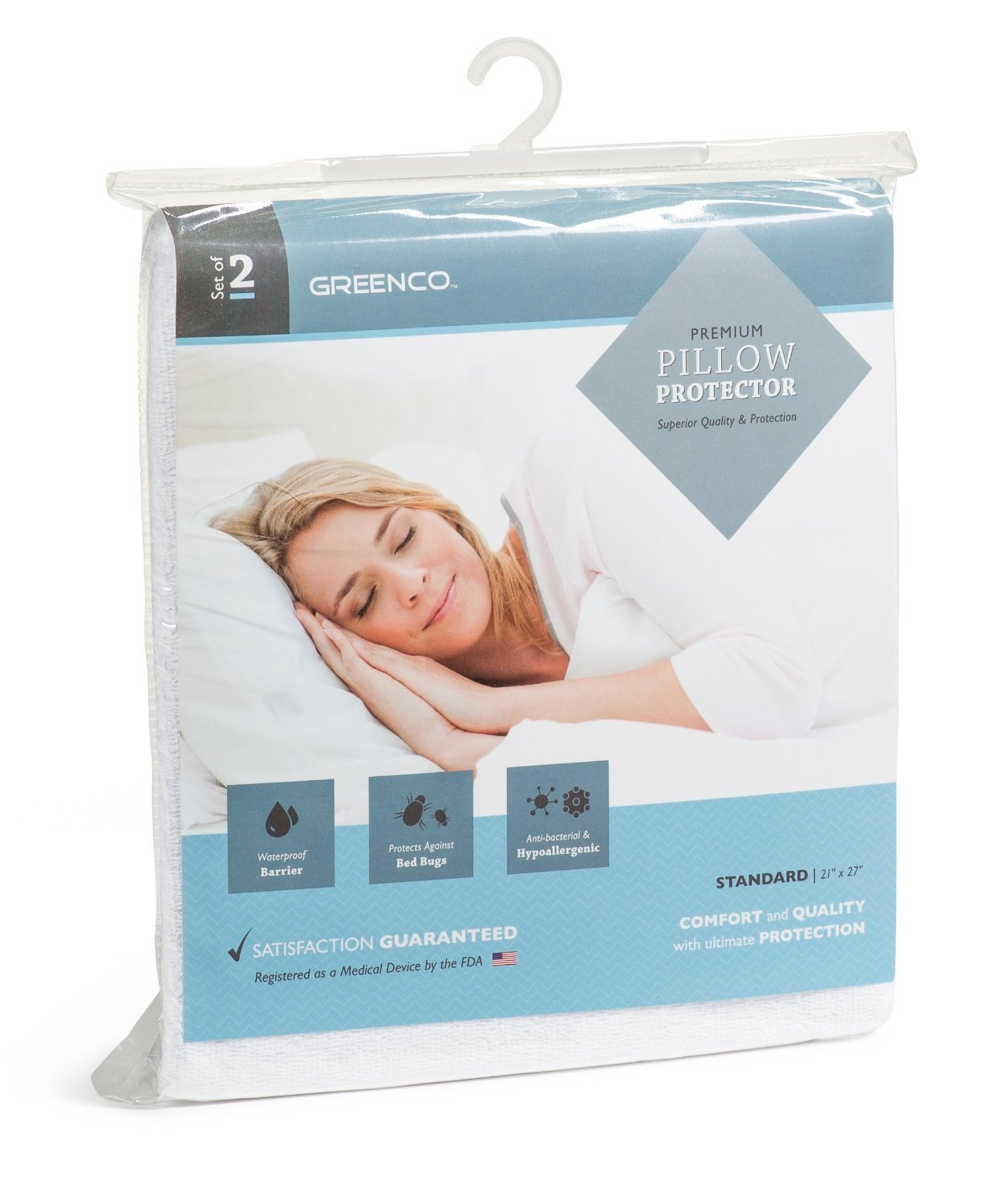 Greenco Premium Hypoallergenic Bed Bug, dust mites Proof Zippered Waterproof, Pillow Protector, Terry Surface, Set of 2, Standard Size (21 x 27 Inches)