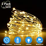 2 Pack 33Ft 10M Fairy Lights Indoor String Light Twinkle Lights with Remote for Bedroom Wedding Garden Patio Party Decorative Lighting Christmas Light Holiday Decoration Warm White