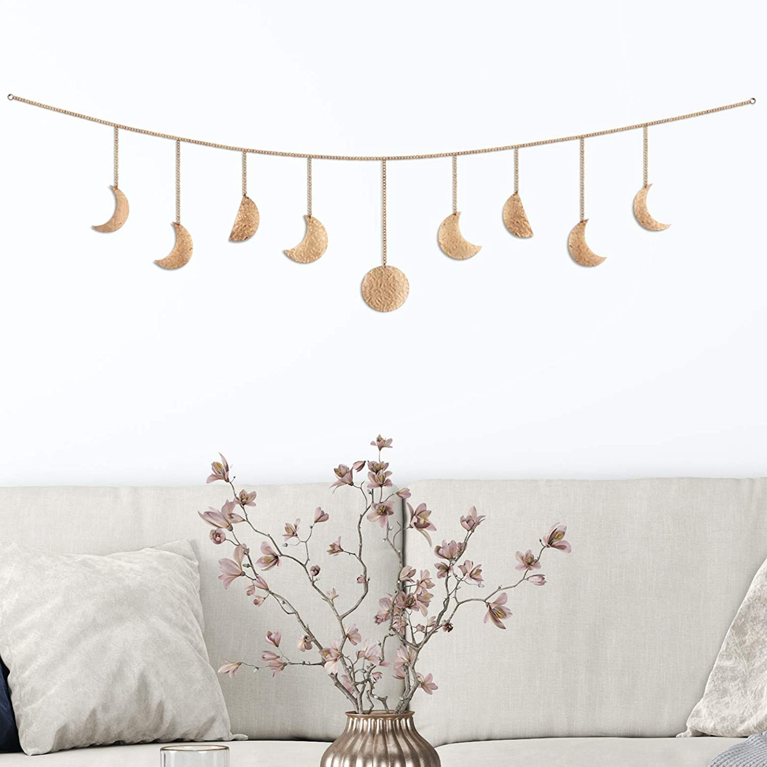 Moon and Gaia Moon Phase Wall Hanging, Rose Gold - Unique, Lightweight Moon Phase Garland - Handmade, Hammered Metal Moon Cycle Banner - Premium Boho Wall Decor for Bedroom, Dorm, Living Room, Nursery