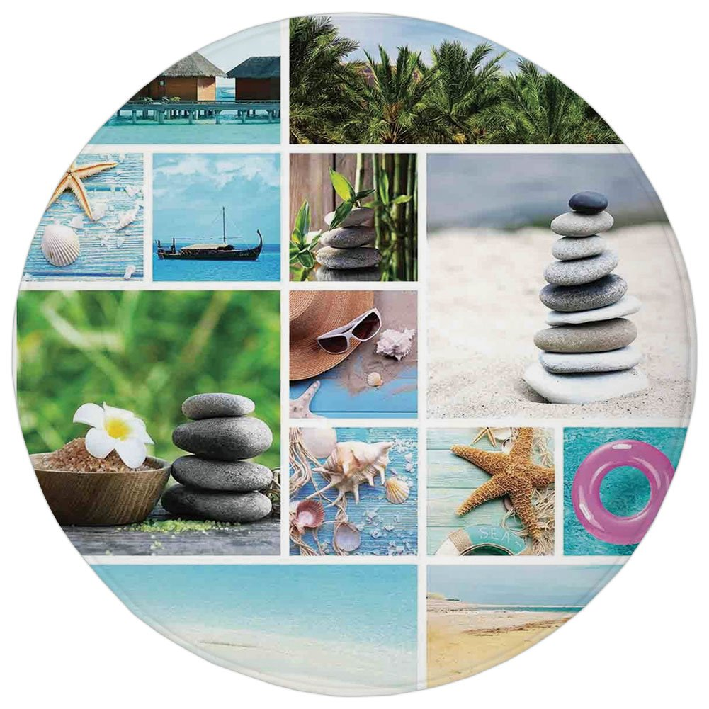 Round Rug Mat Carpet,Spa,Collage of Spa Composition with Tropical Sandy Beach Ocean Rock Views Relax Rest Image,Multicolor,Flannel Microfiber Non-slip Soft Absorbent,for Kitchen Floor Bathroom