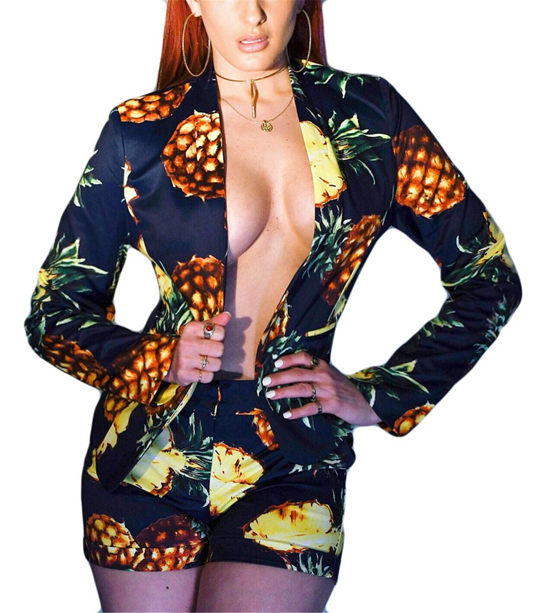 Women's Sexy 2 Pieces Pineapple Printed Jackets Blazers Bodycon Shorts Party Clubwear Tracksuit Outfits Suit Set