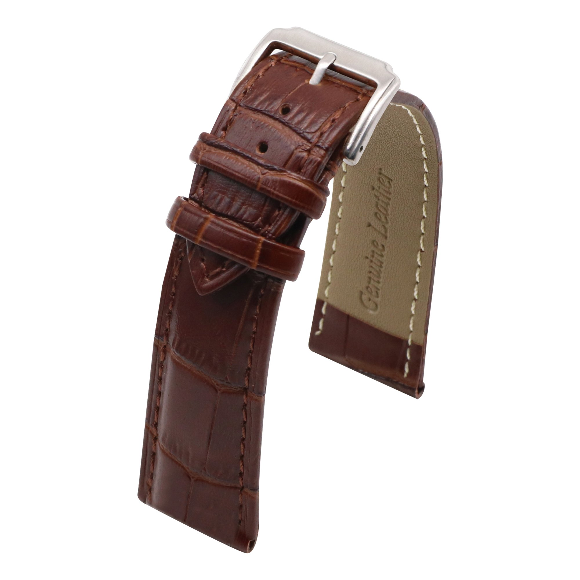 AUTULET Brown Classic Leather Watch Belt 15MM Bracelet Watch Band