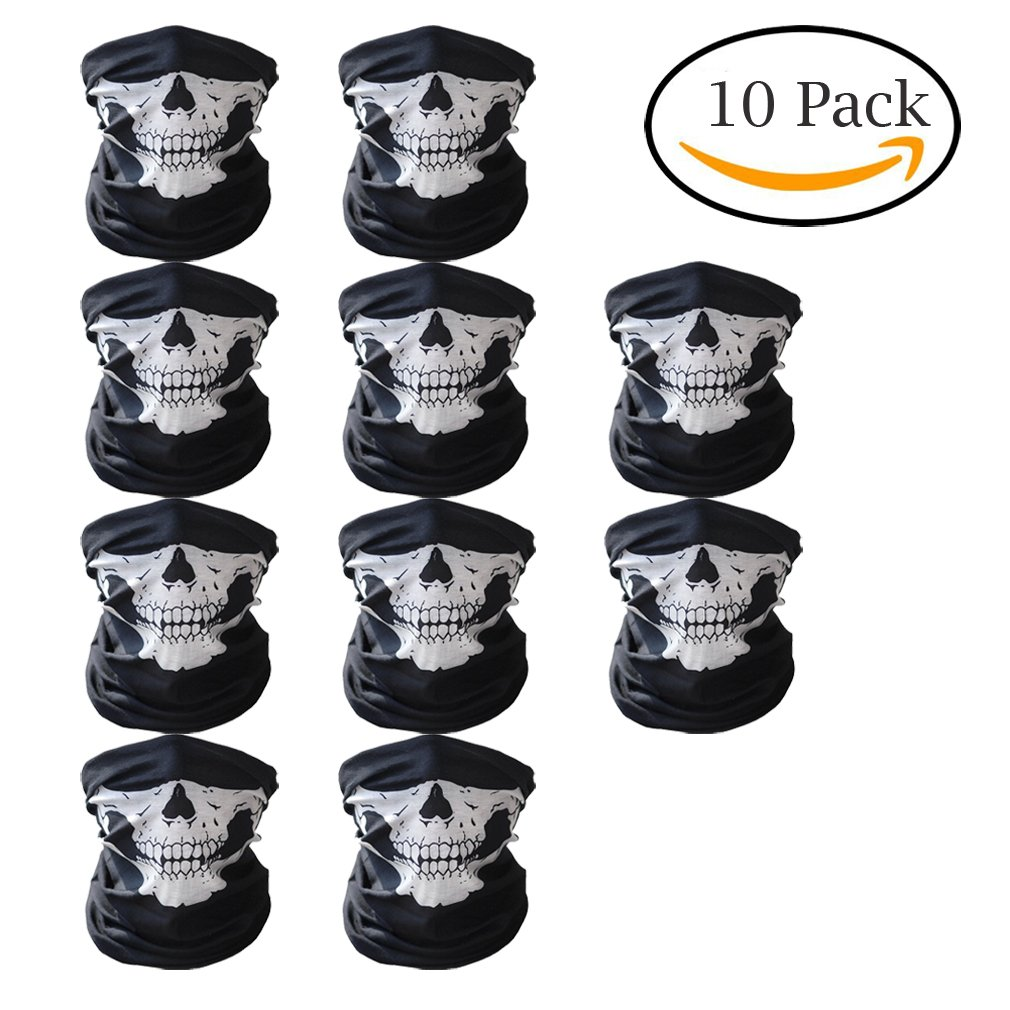 Abseed 10 Stü cke Packung Multifunktionstuch Schä del Gesicht Schlauch Maske Motorrad Totenkopf Sturmmaske fü r Halloween /Fahrrad / Ski/ Wandern.etc.