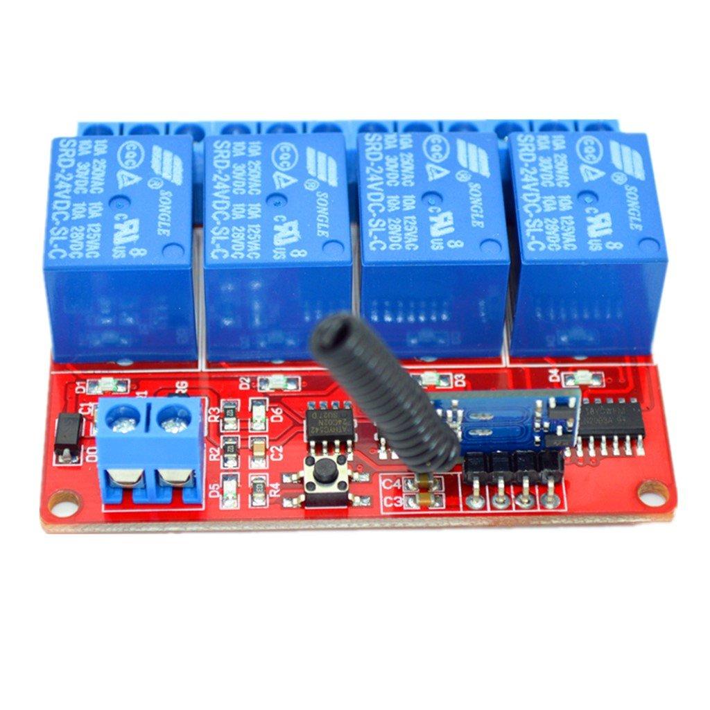Wireless MagiDeal 4 Kanal Infrarot Empf/änger Modul Relais Modul Board 4 Tasten Fernbedienung Schalter 24V