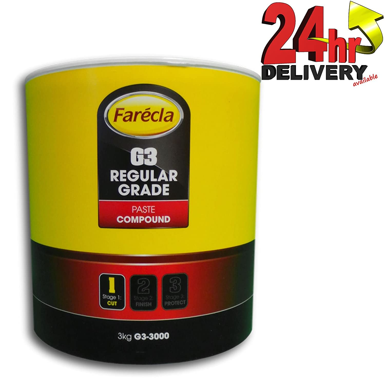 Farecla G3 Rubbing Compound Regular Cutting Paste 3kg 3000g Tub Car Polishing Scratch Swirl Remover Colour Restorer Permanent Finish - Contains no fillers so scratch marks will not reappear
