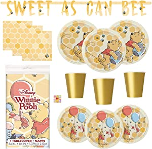 Winnie the Pooh Birthday or Baby Shower Party Supplies Set - Serves 16 - Includes Tablecover, Banner Decoration, Plates, Cups, Napkins, Sticker