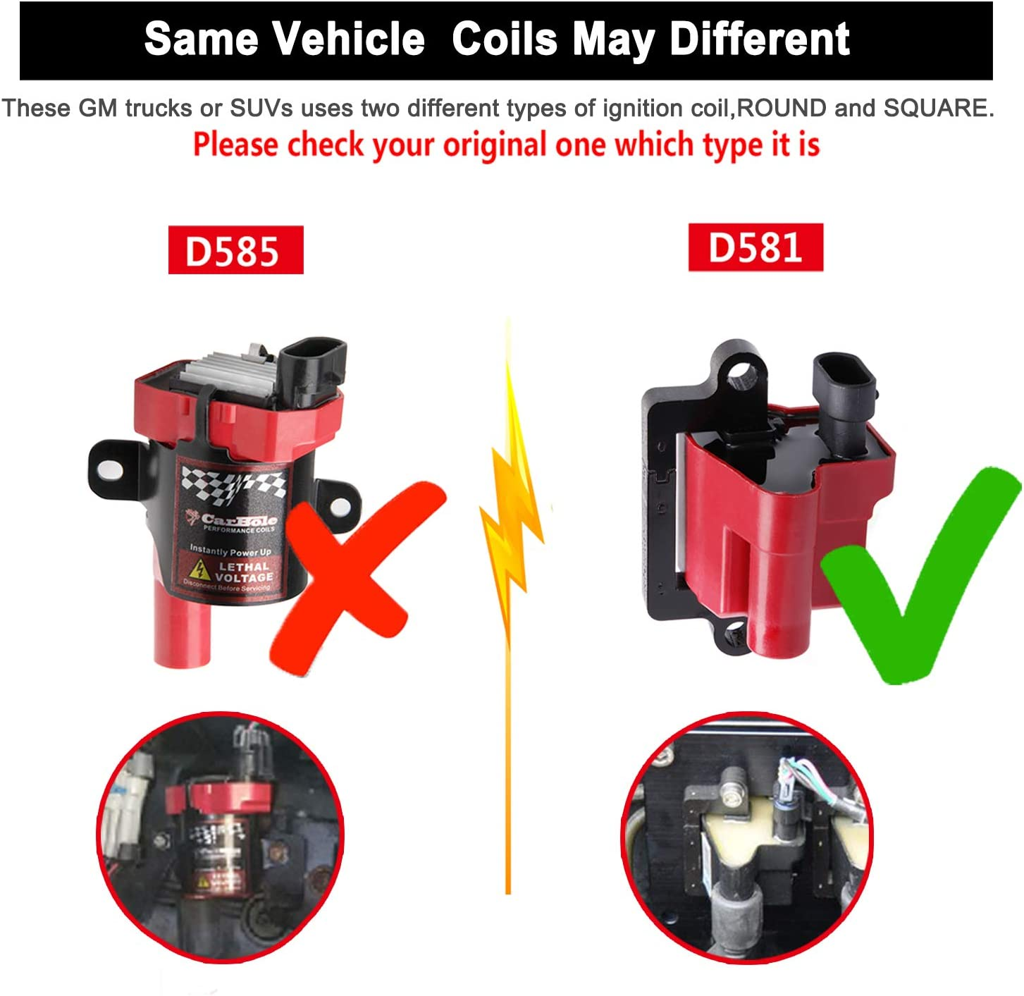 BANG4BUCK D581 UF271 Ignition Coils Square Type High Voltage for Cadillac Chevy Silverado Avalanche Express Suburban Tahoe GMC Sierra Savana 12558693 12556893 3859078 8 Pack