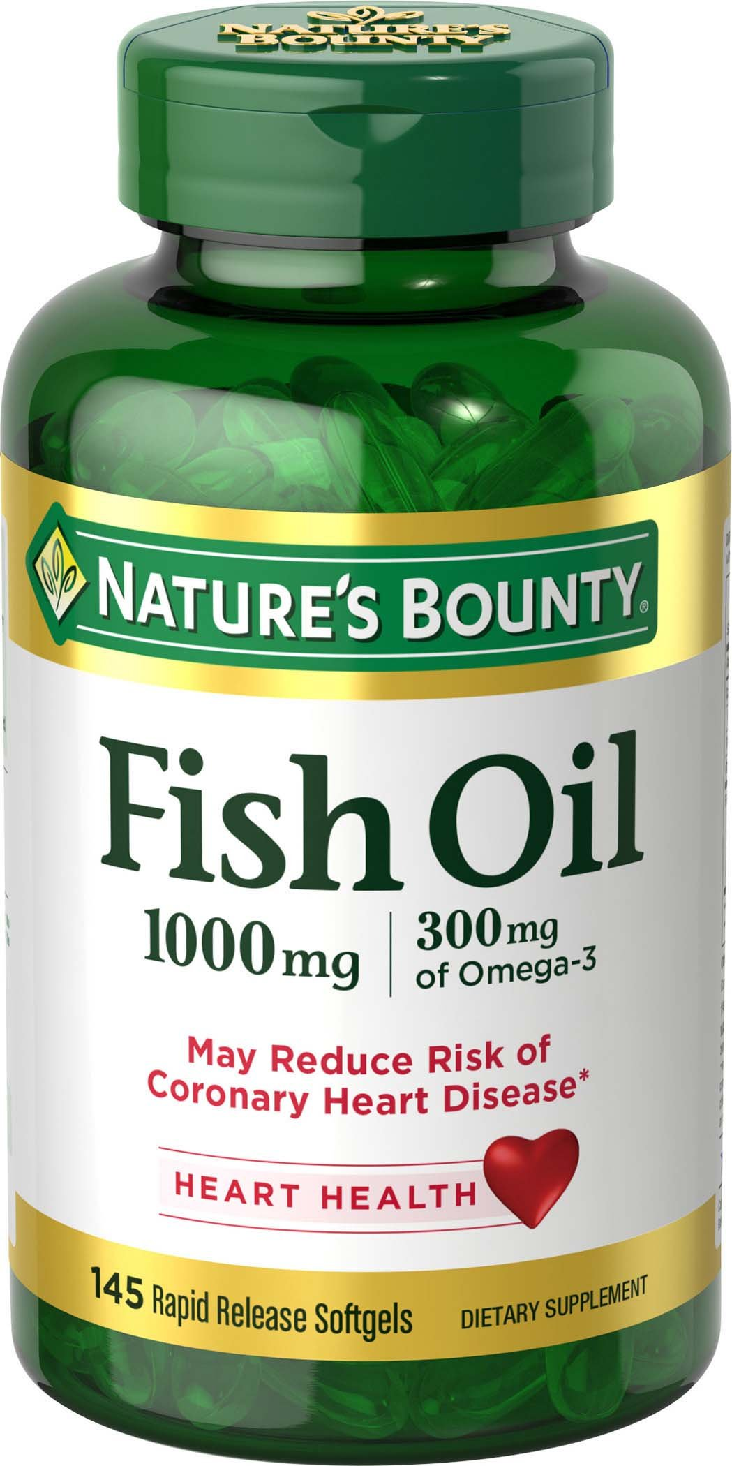 Nature's Bounty Fish Oil Omega-3 1000 mg Softgels 145 ea by Nature's Bounty