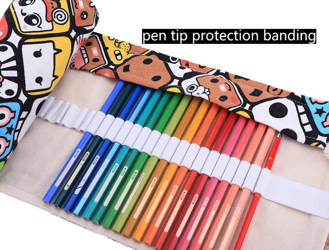 Abaría - Bolso para lápices, Estuche Enrollable para 48 lapices Colores, portalápices de Lona, Bolsa Organizador lápices para Infantil Adulto, ...
